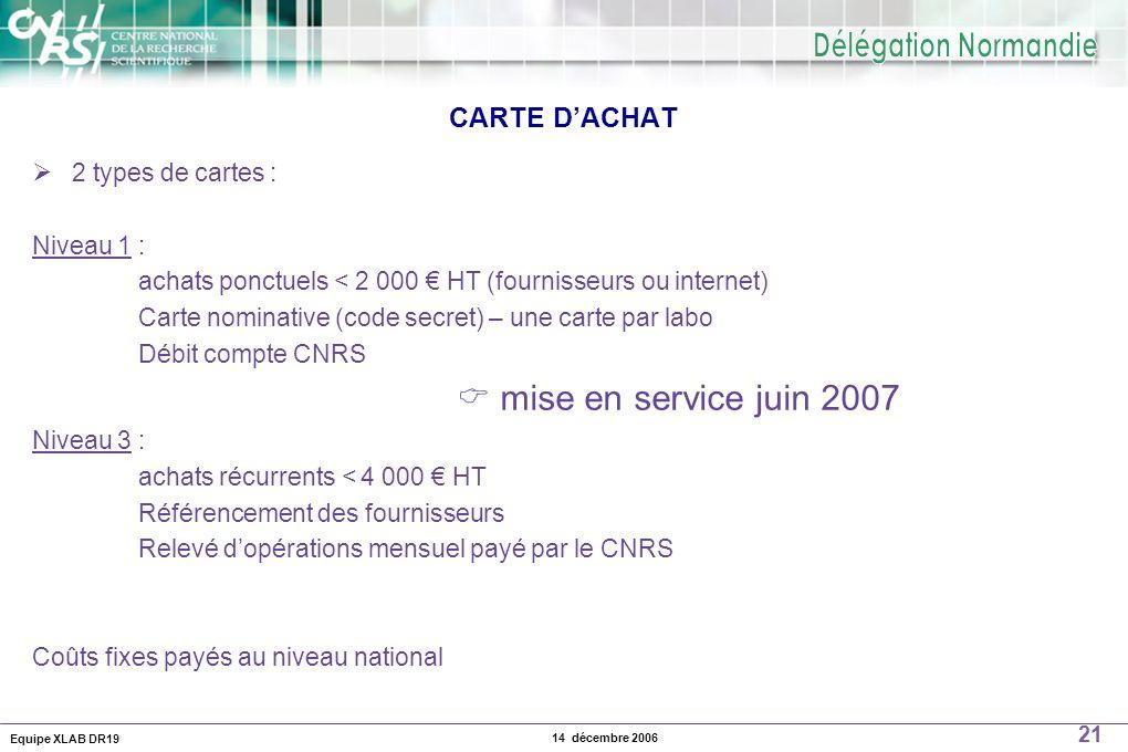 Equipe XLAB DR19 21 14 décembre 2006 CARTE DACHAT 2 types de cartes : Niveau 1 : achats ponctuels < 2 000 HT (fournisseurs ou internet) Carte nominati