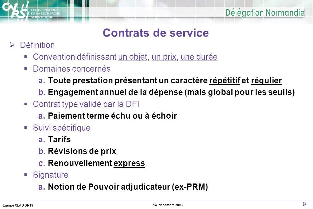 Equipe XLAB DR19 9 14 décembre 2006 Contrats de service Définition Convention définissant un objet, un prix, une durée Domaines concernés a. Toute pre