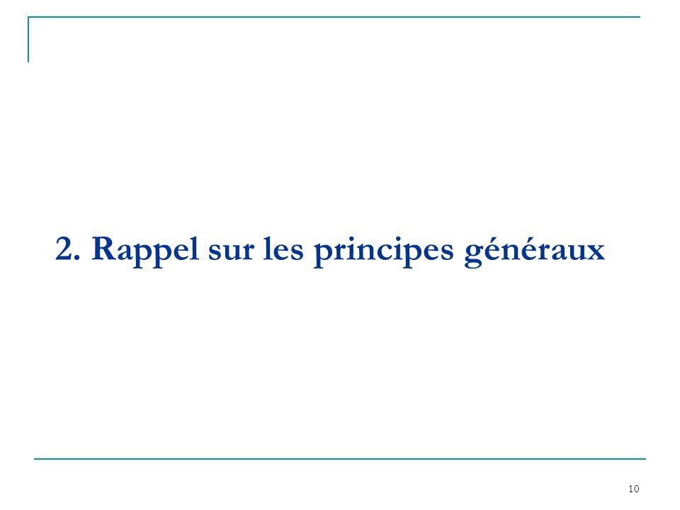 10 2. Rappel sur les principes généraux