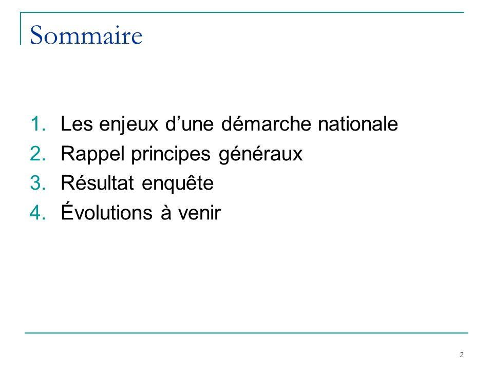 2 Sommaire 1.Les enjeux dune démarche nationale 2.Rappel principes généraux 3.Résultat enquête 4.Évolutions à venir