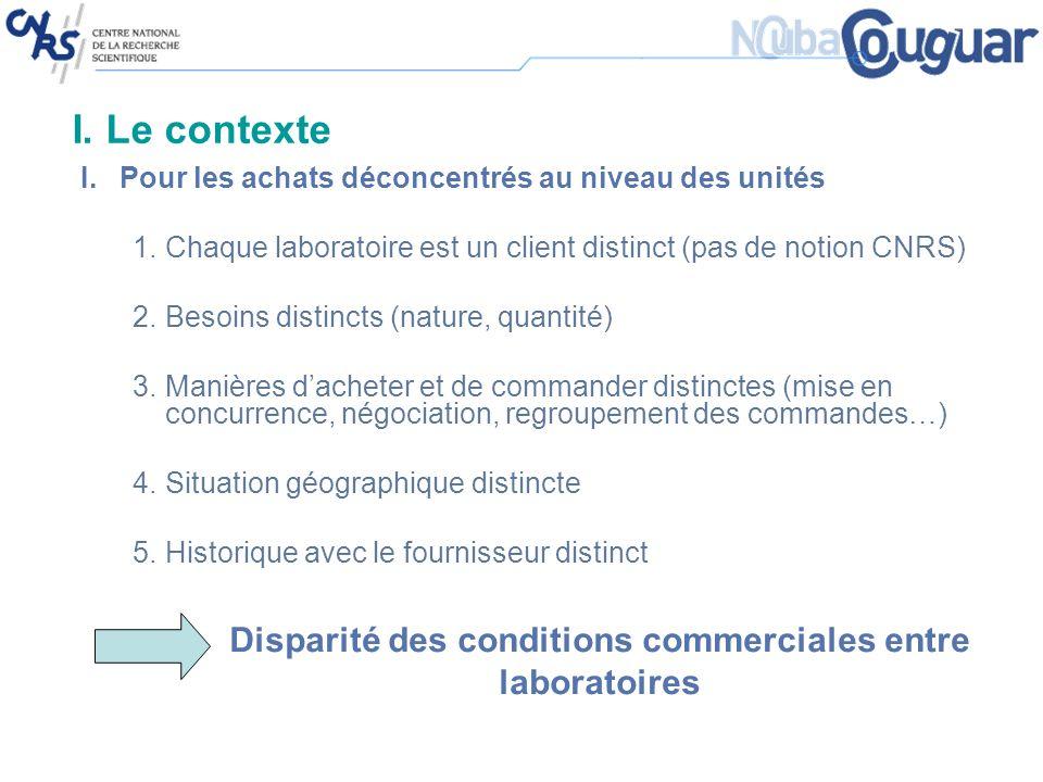 I. Le contexte I.Pour les achats déconcentrés au niveau des unités 1.Chaque laboratoire est un client distinct (pas de notion CNRS) 2.Besoins distinct