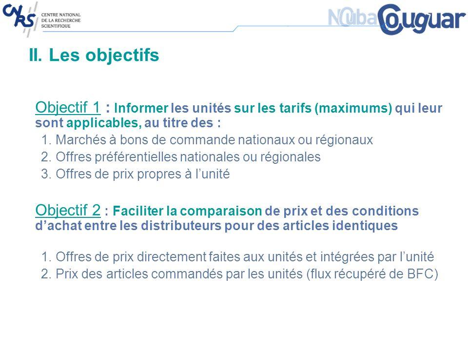 II. Les objectifs Objectif 1 : Informer les unités sur les tarifs (maximums) qui leur sont applicables, au titre des : 1.Marchés à bons de commande na