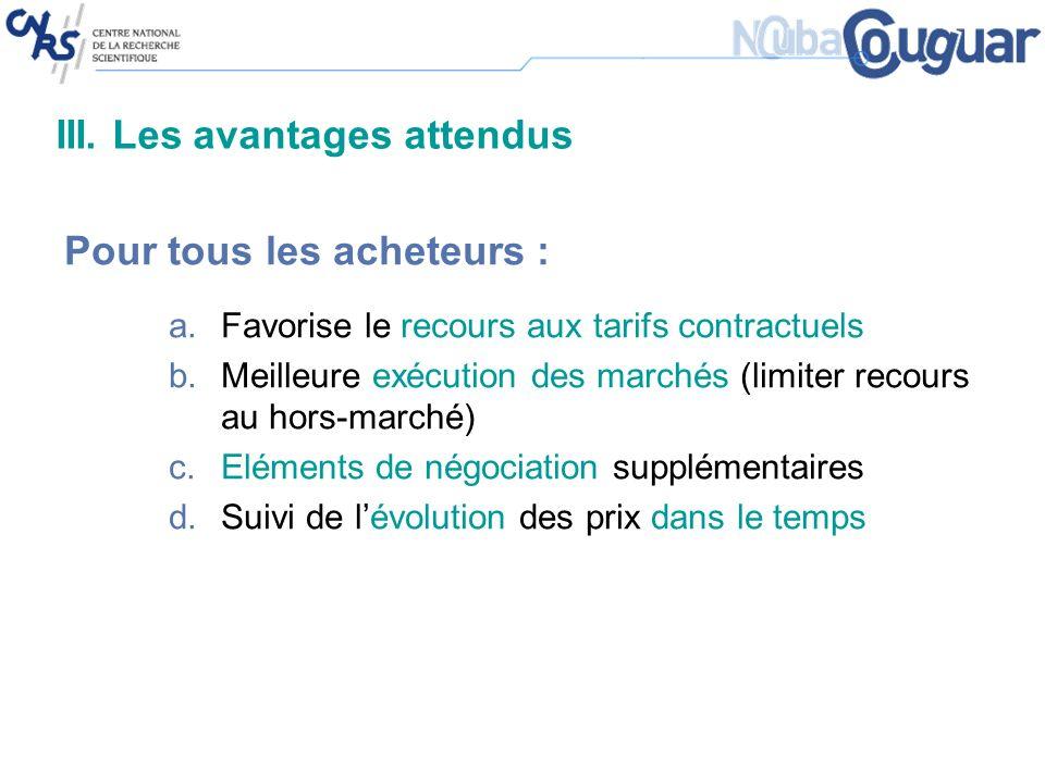 III. Les avantages attendus Pour tous les acheteurs : a.Favorise le recours aux tarifs contractuels b.Meilleure exécution des marchés (limiter recours