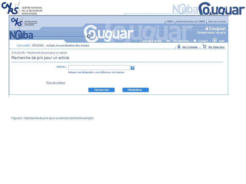 Figure 2 : Recherche de prix pour un article (recherche simple)