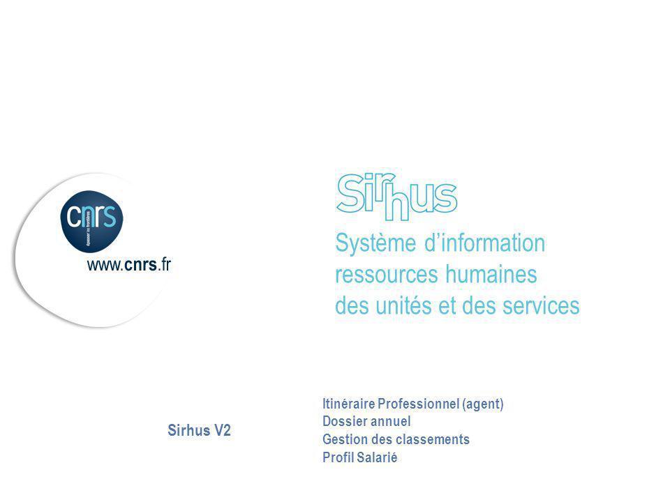 Système dinformation ressources humaines des unités et des services Itinéraire Professionnel (agent) Dossier annuel Gestion des classements Profil Sal
