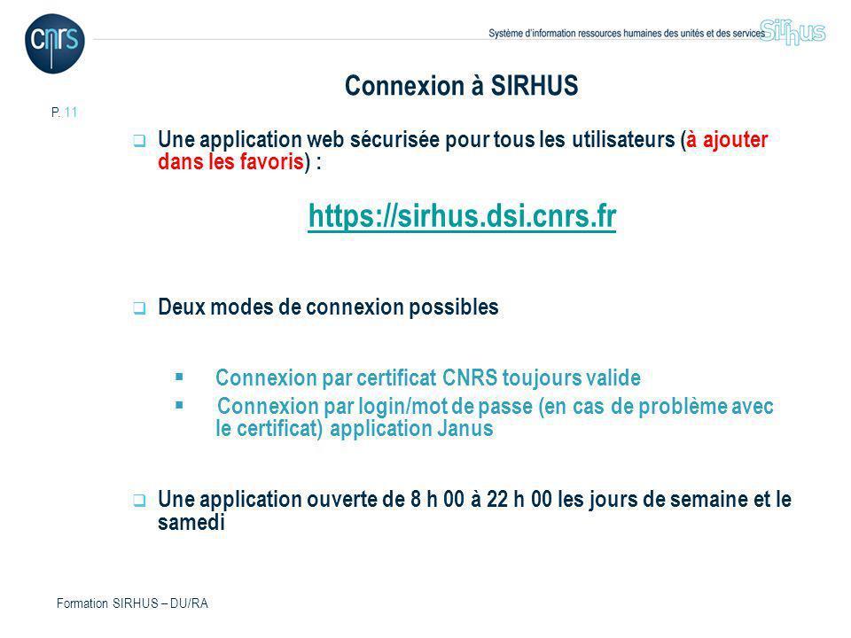P. 11 Formation SIRHUS – DU/RA Connexion à SIRHUS Une application web sécurisée pour tous les utilisateurs (à ajouter dans les favoris) : https://sirh