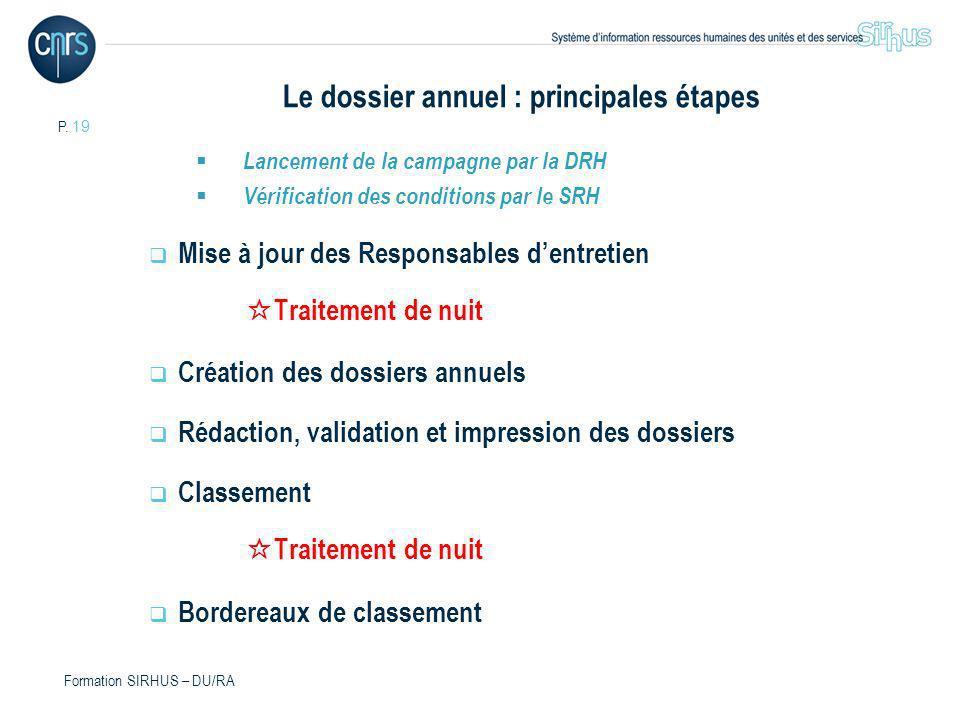 P. 19 Formation SIRHUS – DU/RA Le dossier annuel : principales étapes Lancement de la campagne par la DRH Vérification des conditions par le SRH Mise
