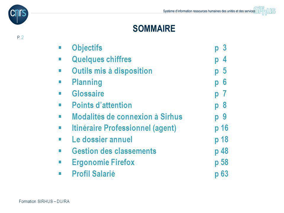 P. 2 Formation SIRHUS – DU/RA SOMMAIRE Objectifsp 3 Quelques chiffresp 4 Outils mis à dispositionp 5 Planningp 6 Glossairep 7 Points dattentionp 8 Mod