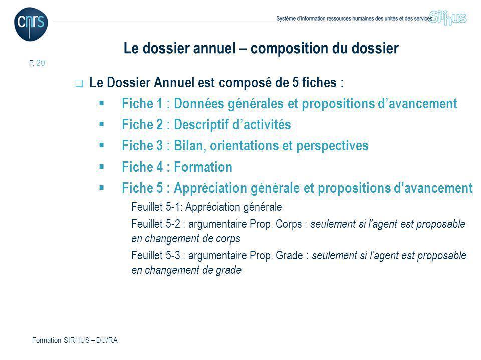P. 20 Formation SIRHUS – DU/RA Le dossier annuel – composition du dossier Le Dossier Annuel est composé de 5 fiches : Fiche 1 : Données générales et p