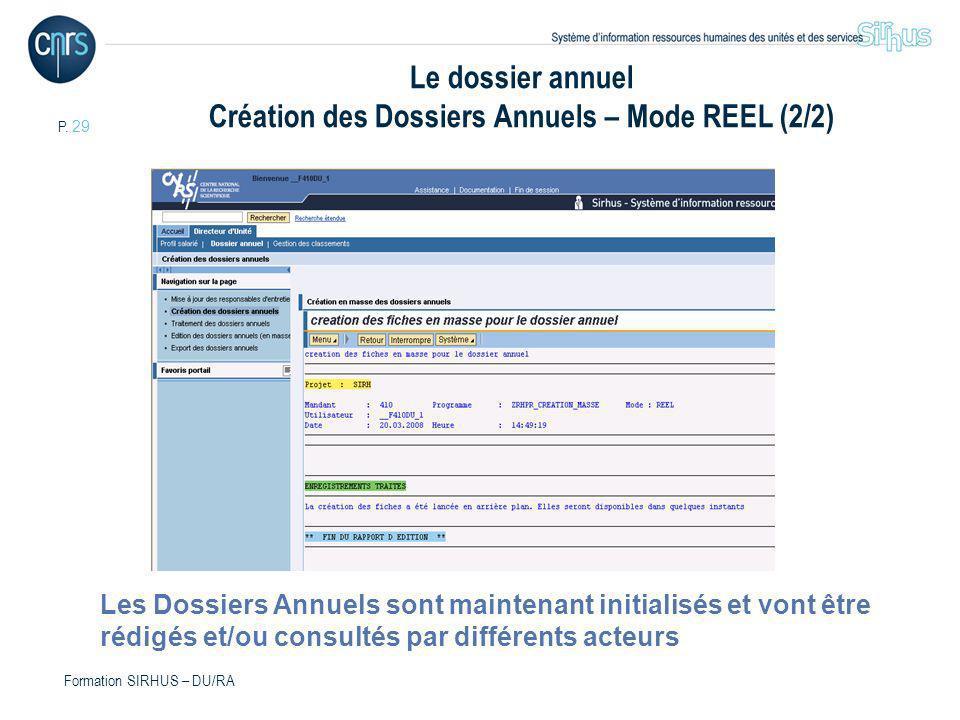 P. 29 Formation SIRHUS – DU/RA Les Dossiers Annuels sont maintenant initialisés et vont être rédigés et/ou consultés par différents acteurs Le dossier