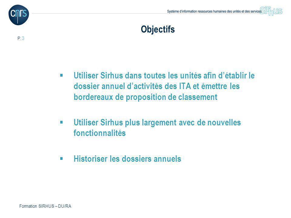 P. 3 Formation SIRHUS – DU/RA Objectifs Utiliser Sirhus dans toutes les unités afin détablir le dossier annuel dactivités des ITA et émettre les borde