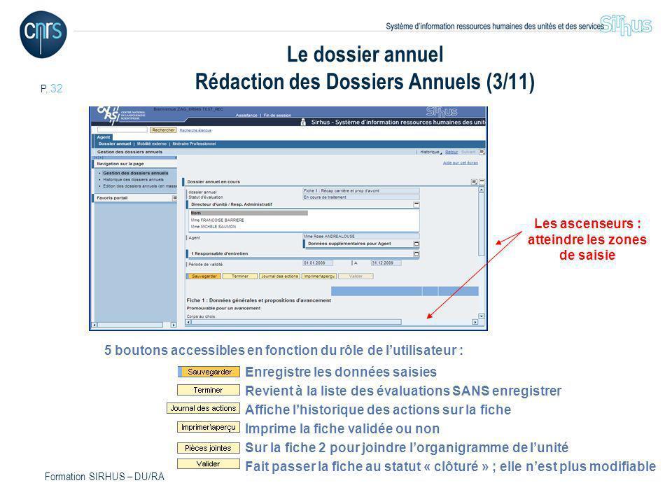 P. 32 Formation SIRHUS – DU/RA Le dossier annuel Rédaction des Dossiers Annuels (3/11) Les ascenseurs : atteindre les zones de saisie 5 boutons access