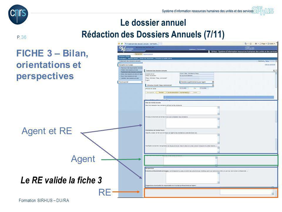 P. 36 Formation SIRHUS – DU/RA Le dossier annuel Rédaction des Dossiers Annuels (7/11) FICHE 3 – Bilan, orientations et perspectives Agent et RE RE Ag