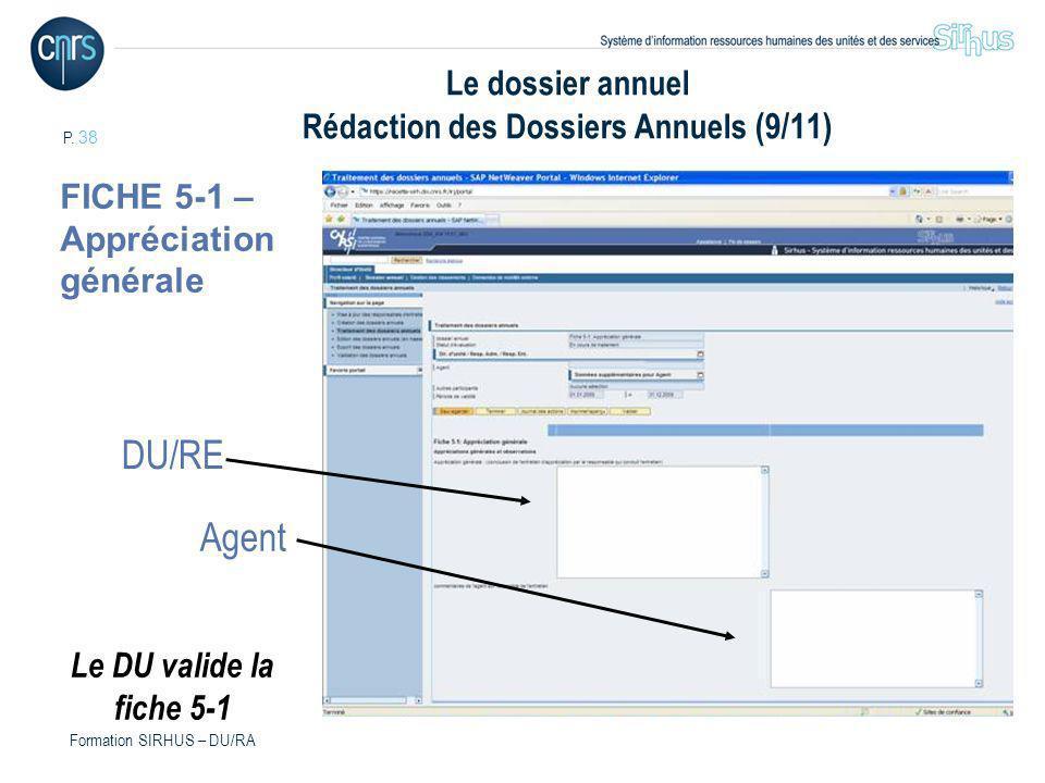 P. 38 Formation SIRHUS – DU/RA Le dossier annuel Rédaction des Dossiers Annuels (9/11) DU/RE FICHE 5-1 – Appréciation générale Agent Le DU valide la f