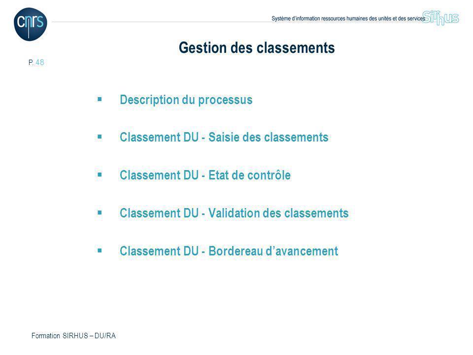 P. 48 Formation SIRHUS – DU/RA Gestion des classements Description du processus Classement DU - Saisie des classements Classement DU - Etat de contrôl