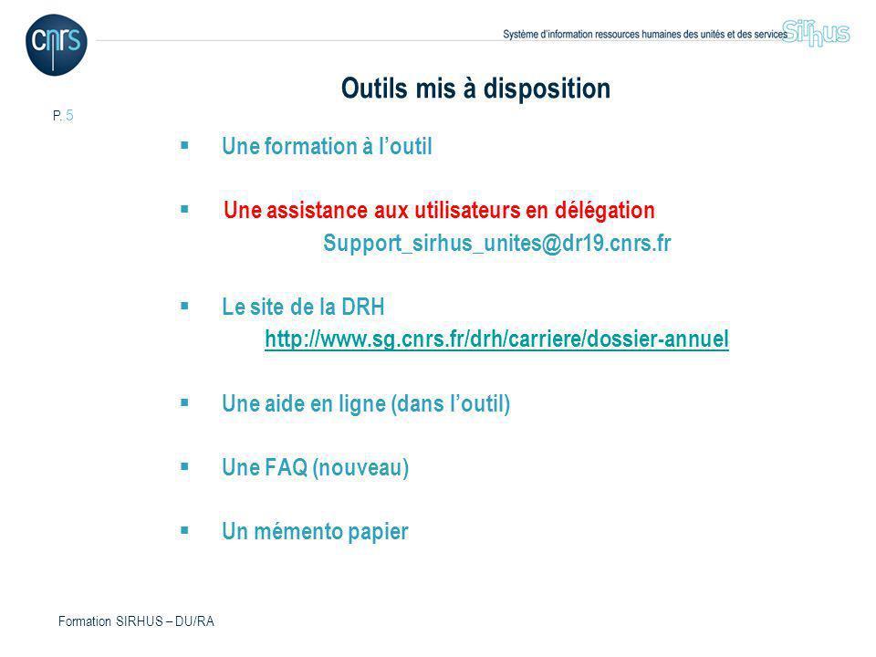 P. 5 Formation SIRHUS – DU/RA Outils mis à disposition Une formation à loutil Une assistance aux utilisateurs en délégation Support_sirhus_unites@dr19