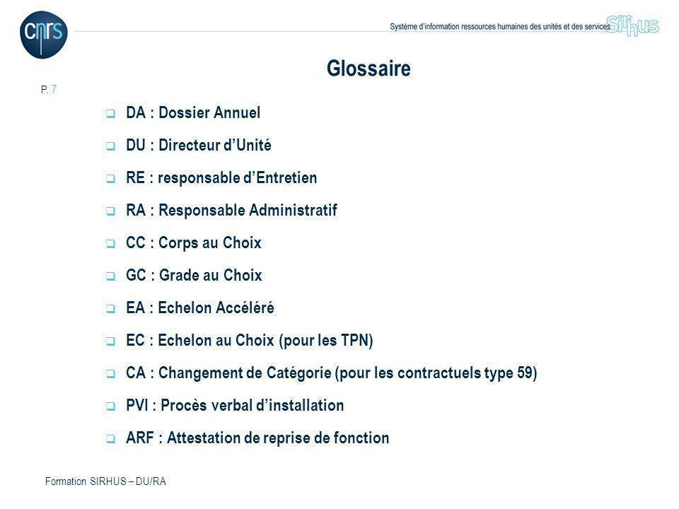P. 7 Formation SIRHUS – DU/RA Glossaire DA : Dossier Annuel DU : Directeur dUnité RE : responsable dEntretien RA : Responsable Administratif CC : Corp