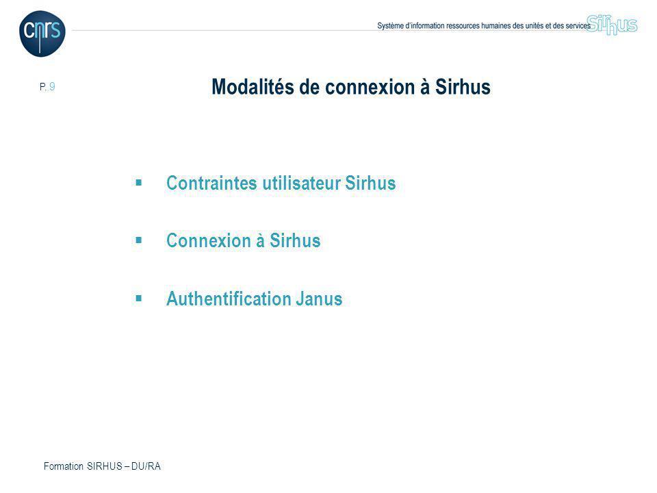 P. 9 Formation SIRHUS – DU/RA Modalités de connexion à Sirhus Contraintes utilisateur Sirhus Connexion à Sirhus Authentification Janus