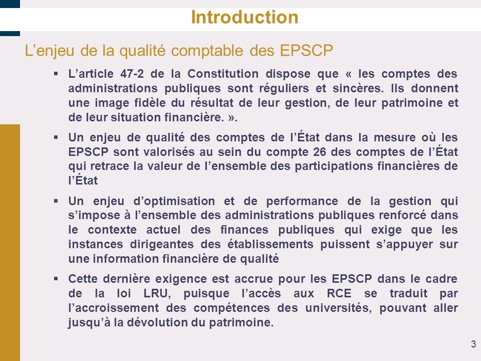 Introduction Lenjeu de la qualité comptable des EPSCP Larticle 47-2 de la Constitution dispose que « les comptes des administrations publiques sont ré