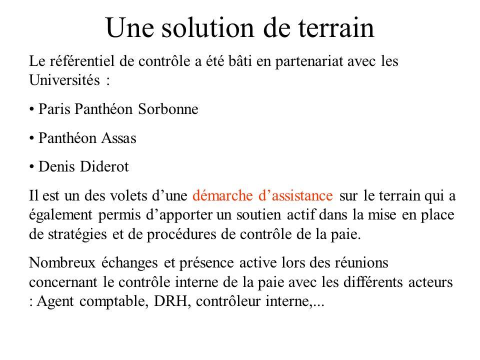 Une solution de terrain Le référentiel de contrôle a été bâti en partenariat avec les Universités : Paris Panthéon Sorbonne Panthéon Assas Denis Dider