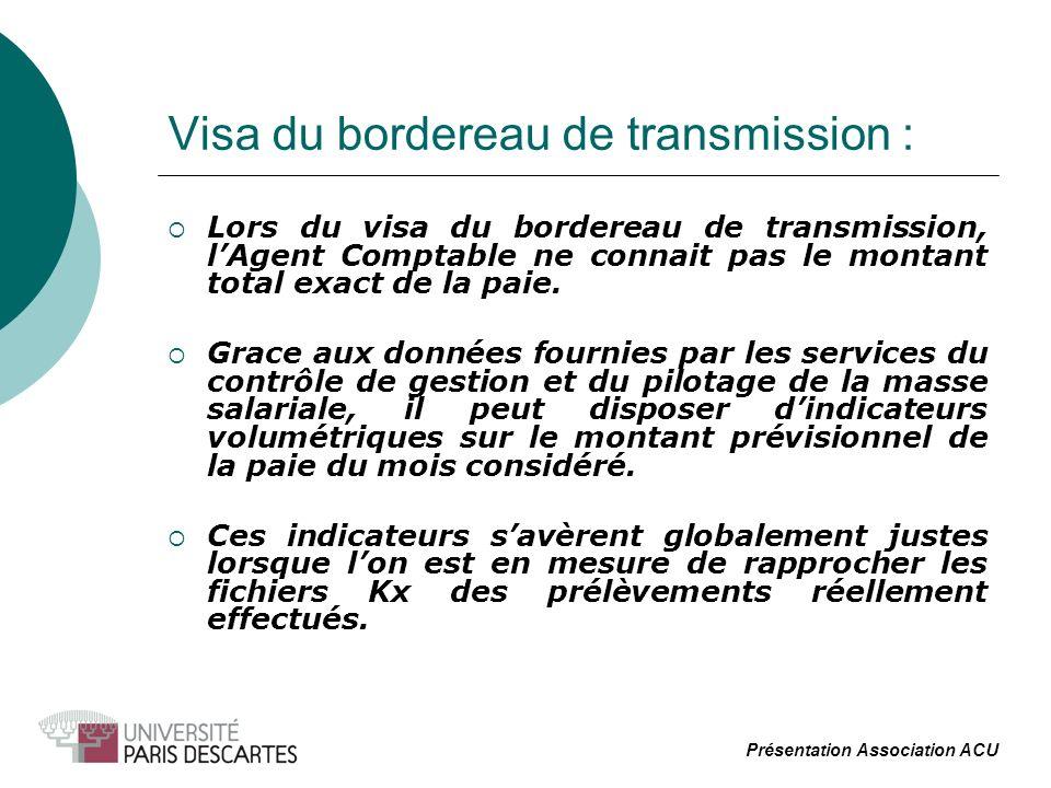 Visa du bordereau de transmission : Lors du visa du bordereau de transmission, lAgent Comptable ne connait pas le montant total exact de la paie. Grac