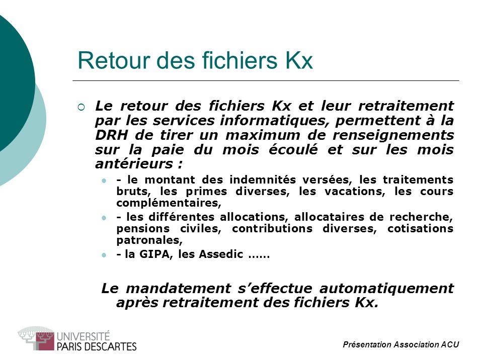 Retour des fichiers Kx Le retour des fichiers Kx et leur retraitement par les services informatiques, permettent à la DRH de tirer un maximum de rense