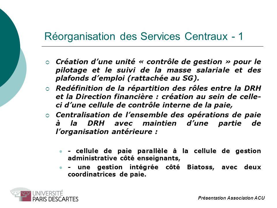 Réorganisation des Services Centraux - 1 Création dune unité « contrôle de gestion » pour le pilotage et le suivi de la masse salariale et des plafonds demploi (rattachée au SG).