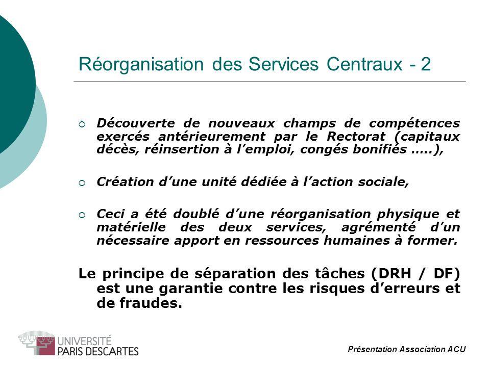 Réorganisation des Services Centraux - 2 Découverte de nouveaux champs de compétences exercés antérieurement par le Rectorat (capitaux décès, réinsert