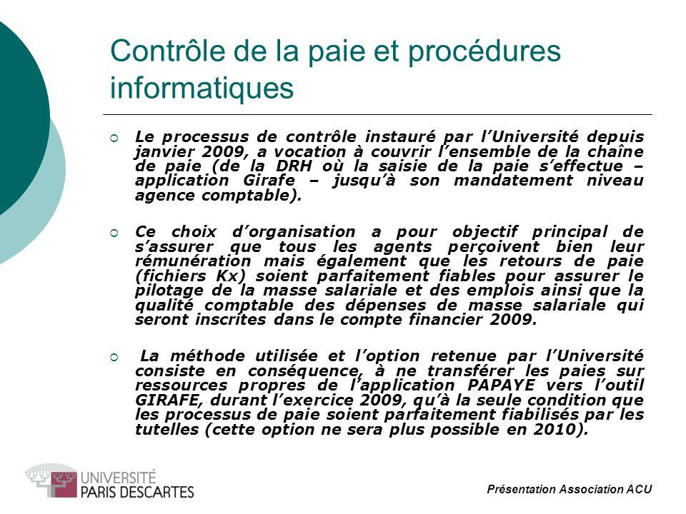 Contrôle de la paie et procédures informatiques Le processus de contrôle instauré par lUniversité depuis janvier 2009, a vocation à couvrir lensemble