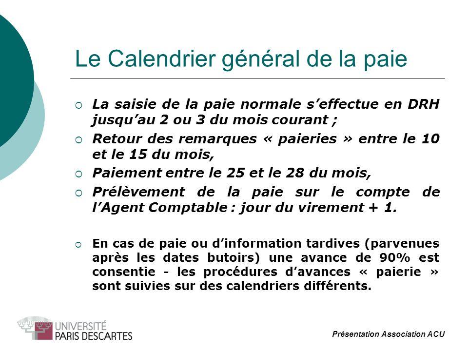 Le Calendrier général de la paie La saisie de la paie normale seffectue en DRH jusquau 2 ou 3 du mois courant ; Retour des remarques « paieries » entr