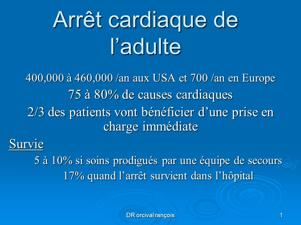 DR orcival rançois22 Algorythme acr medicalise Pendant la RCP* : Mettre en place et vérifier : - Intubation et oxygène pur - Abord veineux : SSI*; ou intra osseuse Vérifier les électrodes Traiter les causes réversibles (1) MCE en continu après IOT Adrénaline IV 1 mg / 3 - 5 min Envisager amiodarone et trt spécifiques Monitorer et adapter : EtCo2, (, glycémie, électrolytes si RACS) Analyser le rythme Rythme Chocable FV, TV sans pouls 1 choc Biphasique 150- 200 joules Ou monophasique 360 joules Reprise immédiate de la RCP 30 / 2 pour 2 min RCP30/2 en attendant la pose du défibrillateur ou moniteur NON chocable RSP*, asystolie Reprise immédiate de la RCP 30 / 2 pour 2 min (1)Causes réversibles à diagnostiquer et traiter: Hypoxie, Hypovolémie, Hypo/Hyperkaliémie, Troubles métaboliques Hypothermie, Thrombose (coronaire, pulmonaire) Pneumothorax compressif, Tamponnade, Intoxications