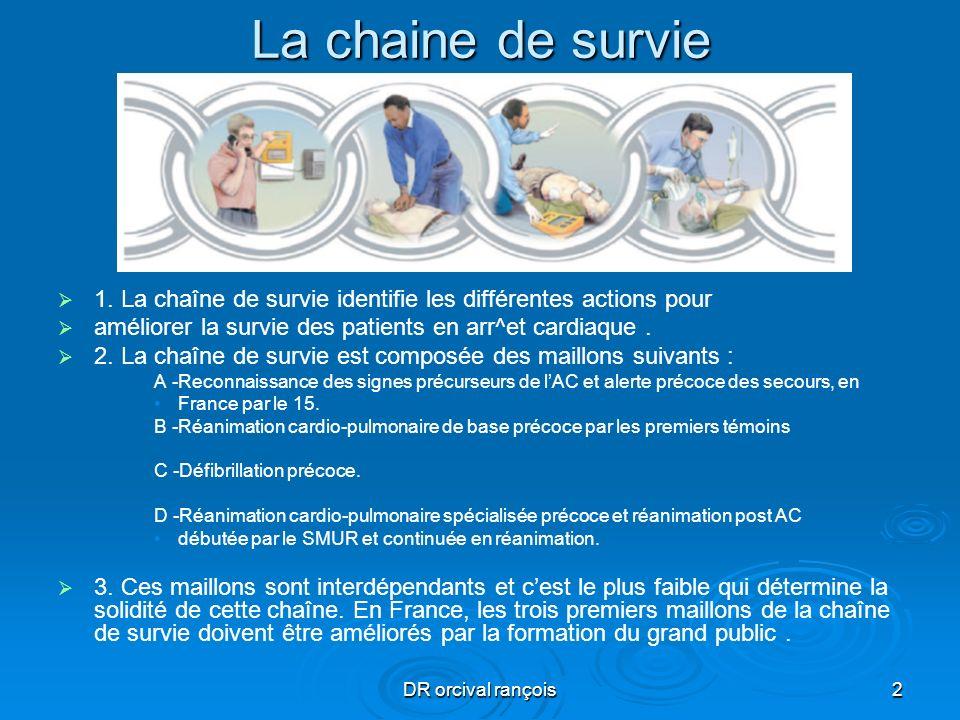 DR orcival rançois2 La chaine de survie 1. La chaîne de survie identifie les différentes actions pour améliorer la survie des patients en arr^et cardi
