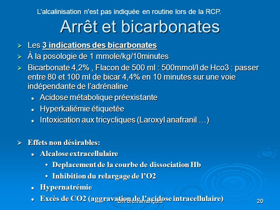DR orcival rançois20 Arrêt et bicarbonates Les 3 indications des bicarbonates Les 3 indications des bicarbonates À la posologie de 1 mmole/kg/10minute