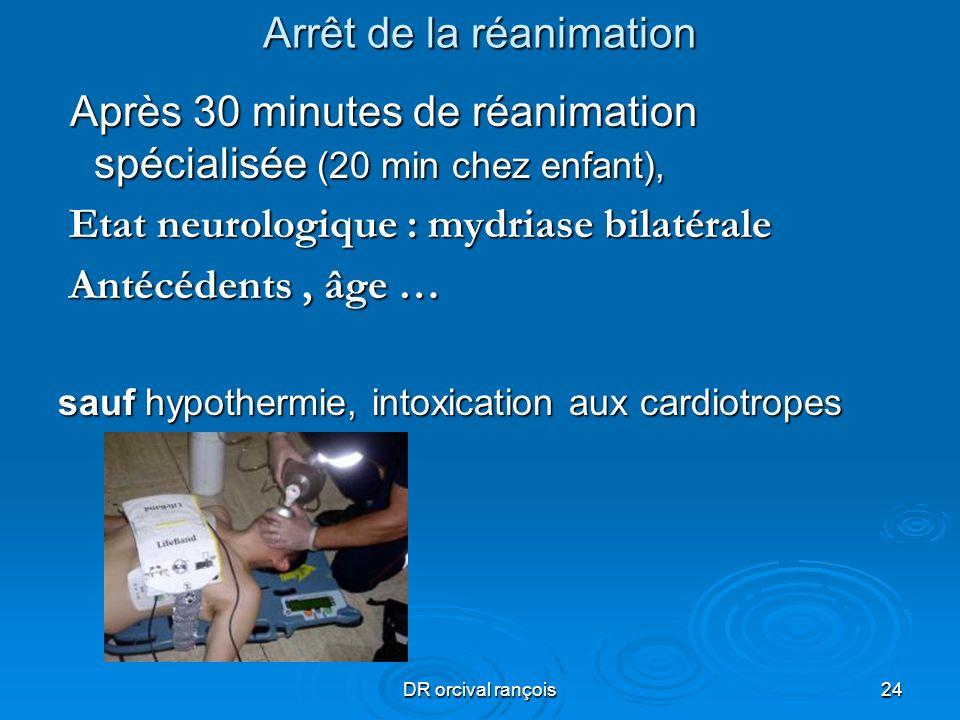 DR orcival rançois24 Arrêt de la réanimation Après 30 minutes de réanimation spécialisée (20 min chez enfant), Après 30 minutes de réanimation spécial