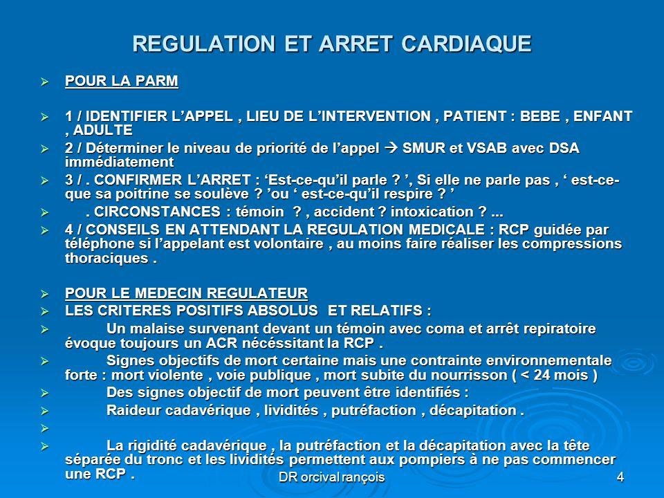 DR orcival rançois4 REGULATION ET ARRET CARDIAQUE POUR LA PARM POUR LA PARM 1 / IDENTIFIER LAPPEL, LIEU DE LINTERVENTION, PATIENT : BEBE, ENFANT, ADUL