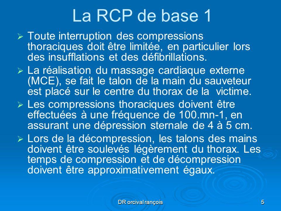 DR orcival rançois6 La RCP de base 2 Louverture des voies aériennes supérieures (VAS) doit se faire par la bascule de la tête en arrière et par élévation du menton.