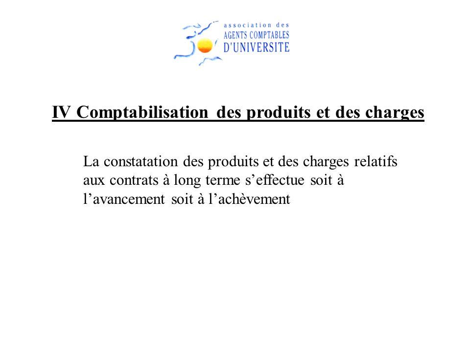 IV Comptabilisation des produits et des charges La constatation des produits et des charges relatifs aux contrats à long terme seffectue soit à lavanc