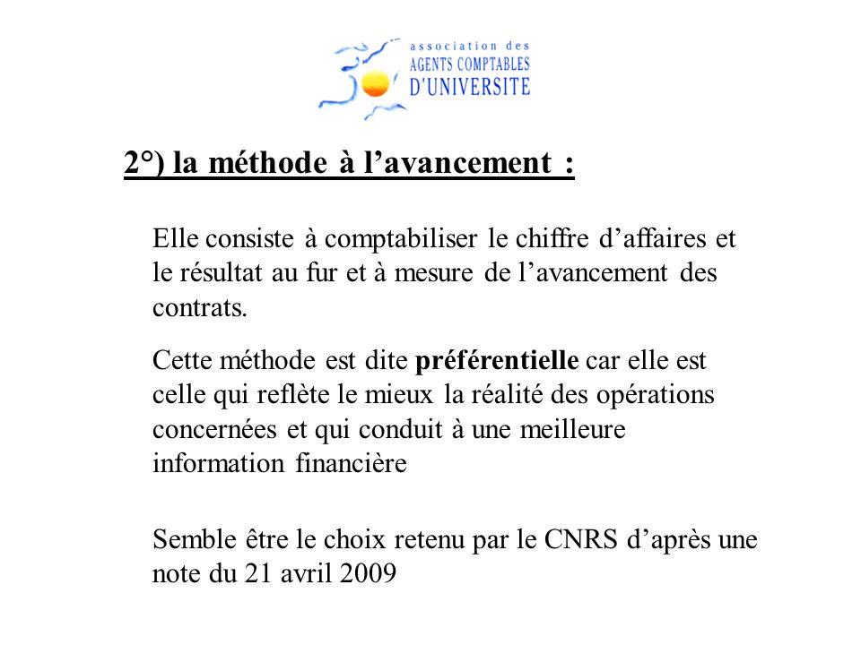 2°) la méthode à lavancement : Elle consiste à comptabiliser le chiffre daffaires et le résultat au fur et à mesure de lavancement des contrats. Cette