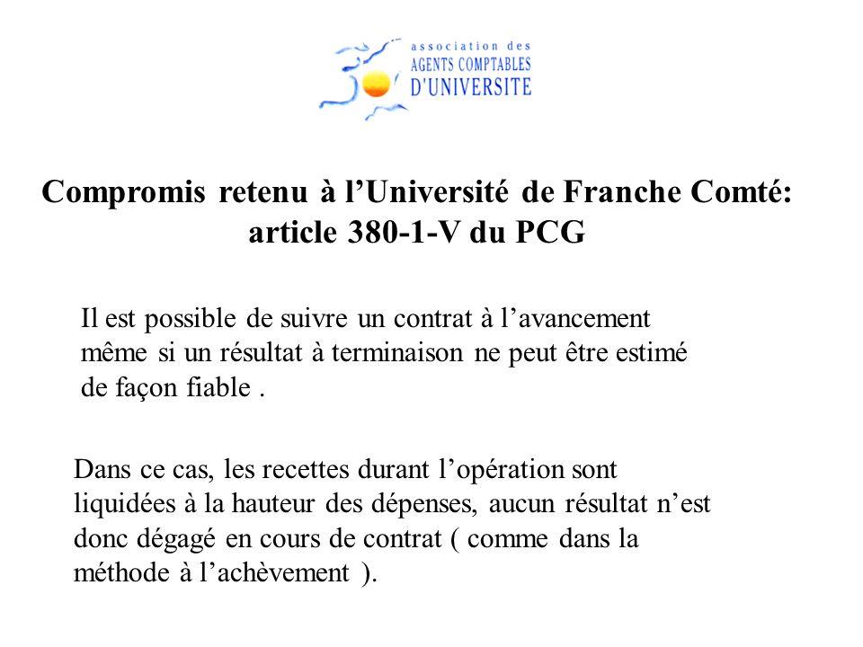 Compromis retenu à lUniversité de Franche Comté: article 380-1-V du PCG Il est possible de suivre un contrat à lavancement même si un résultat à termi