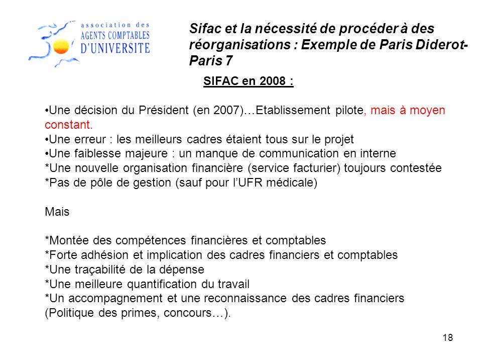 18 SIFAC en 2008 : Une décision du Président (en 2007)…Etablissement pilote, mais à moyen constant. Une erreur : les meilleurs cadres étaient tous sur