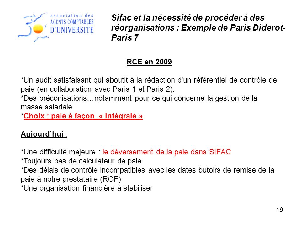 19 RCE en 2009 *Un audit satisfaisant qui aboutit à la rédaction dun référentiel de contrôle de paie (en collaboration avec Paris 1 et Paris 2). *Des