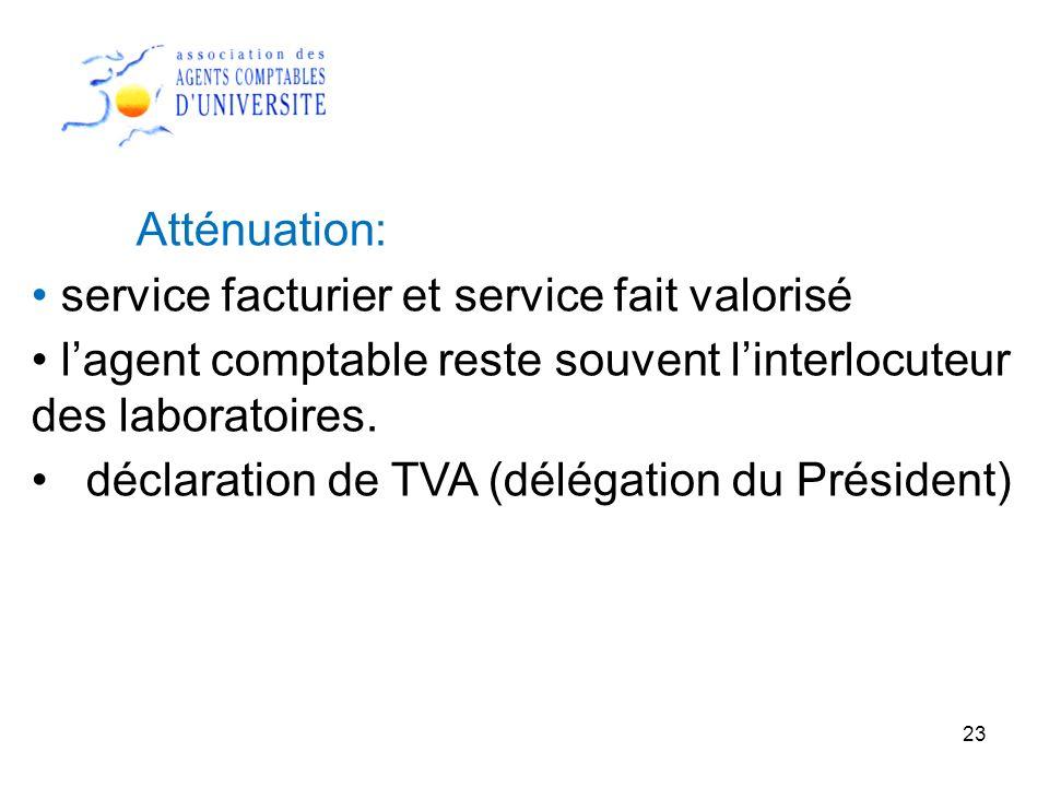 23 Atténuation: service facturier et service fait valorisé lagent comptable reste souvent linterlocuteur des laboratoires. déclaration de TVA (délégat