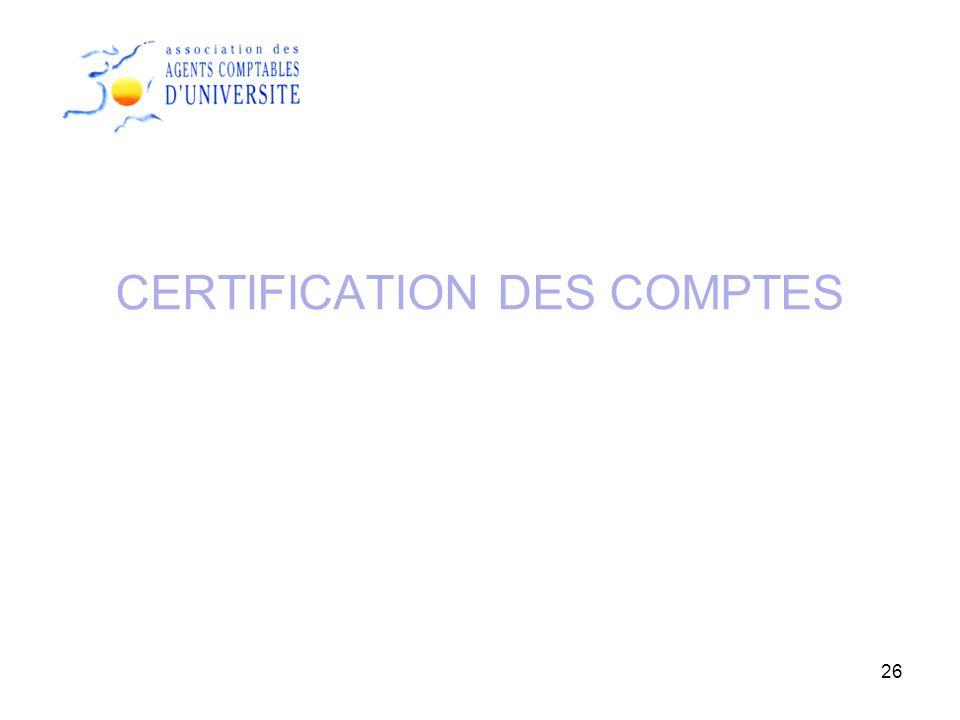 26 CERTIFICATION DES COMPTES