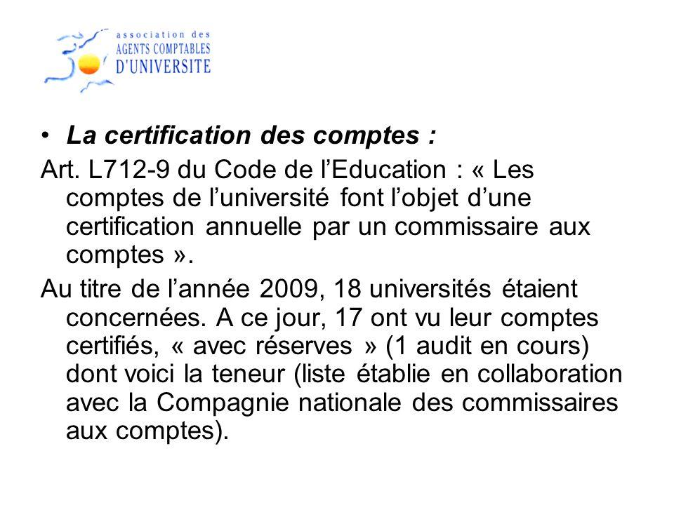 La certification des comptes : Art. L712-9 du Code de lEducation : « Les comptes de luniversité font lobjet dune certification annuelle par un commiss