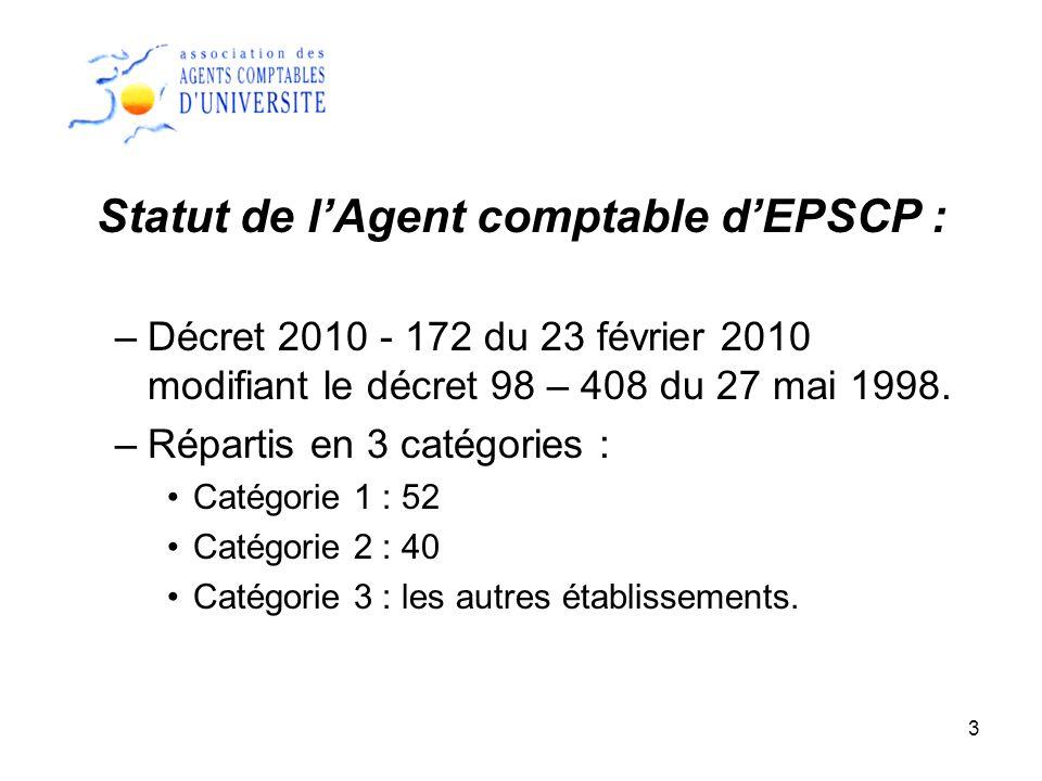 3 Statut de lAgent comptable dEPSCP : –Décret 2010 - 172 du 23 février 2010 modifiant le décret 98 – 408 du 27 mai 1998. –Répartis en 3 catégories : C