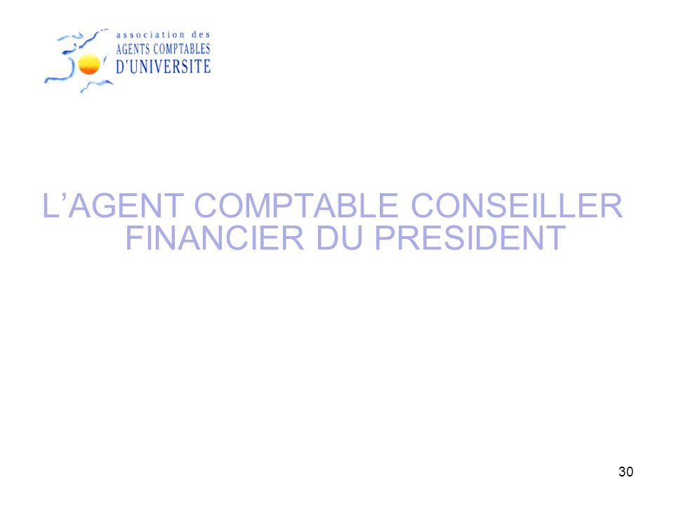 30 LAGENT COMPTABLE CONSEILLER FINANCIER DU PRESIDENT