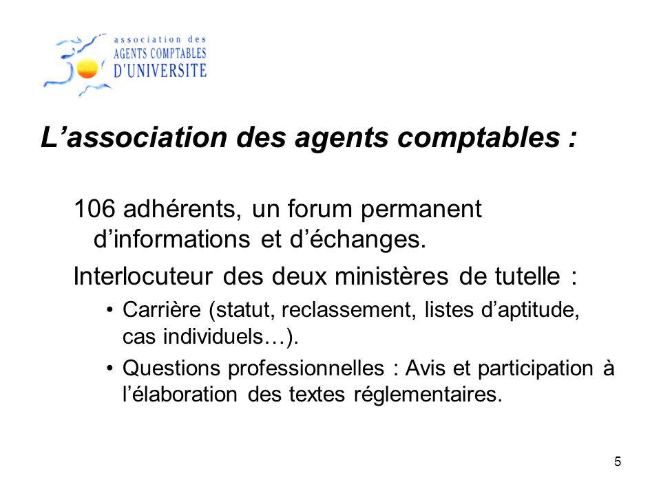 5 Lassociation des agents comptables : 106 adhérents, un forum permanent dinformations et déchanges. Interlocuteur des deux ministères de tutelle : Ca