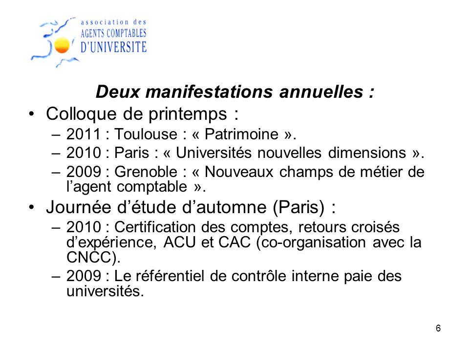 6 Deux manifestations annuelles : Colloque de printemps : –2011 : Toulouse : « Patrimoine ». –2010 : Paris : « Universités nouvelles dimensions ». –20