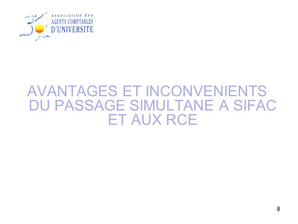 8 AVANTAGES ET INCONVENIENTS DU PASSAGE SIMULTANE A SIFAC ET AUX RCE
