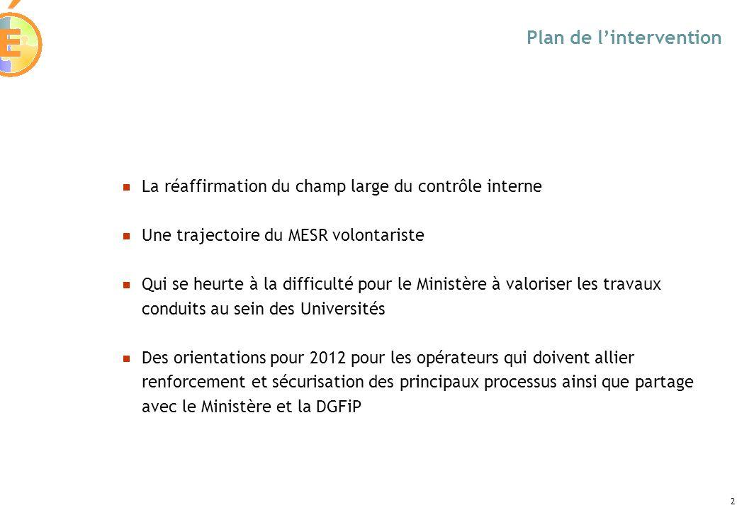 2 Plan de lintervention La réaffirmation du champ large du contrôle interne Une trajectoire du MESR volontariste Qui se heurte à la difficulté pour le